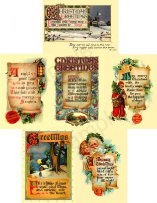 Christmas Postcards Vintage - Pack of 6